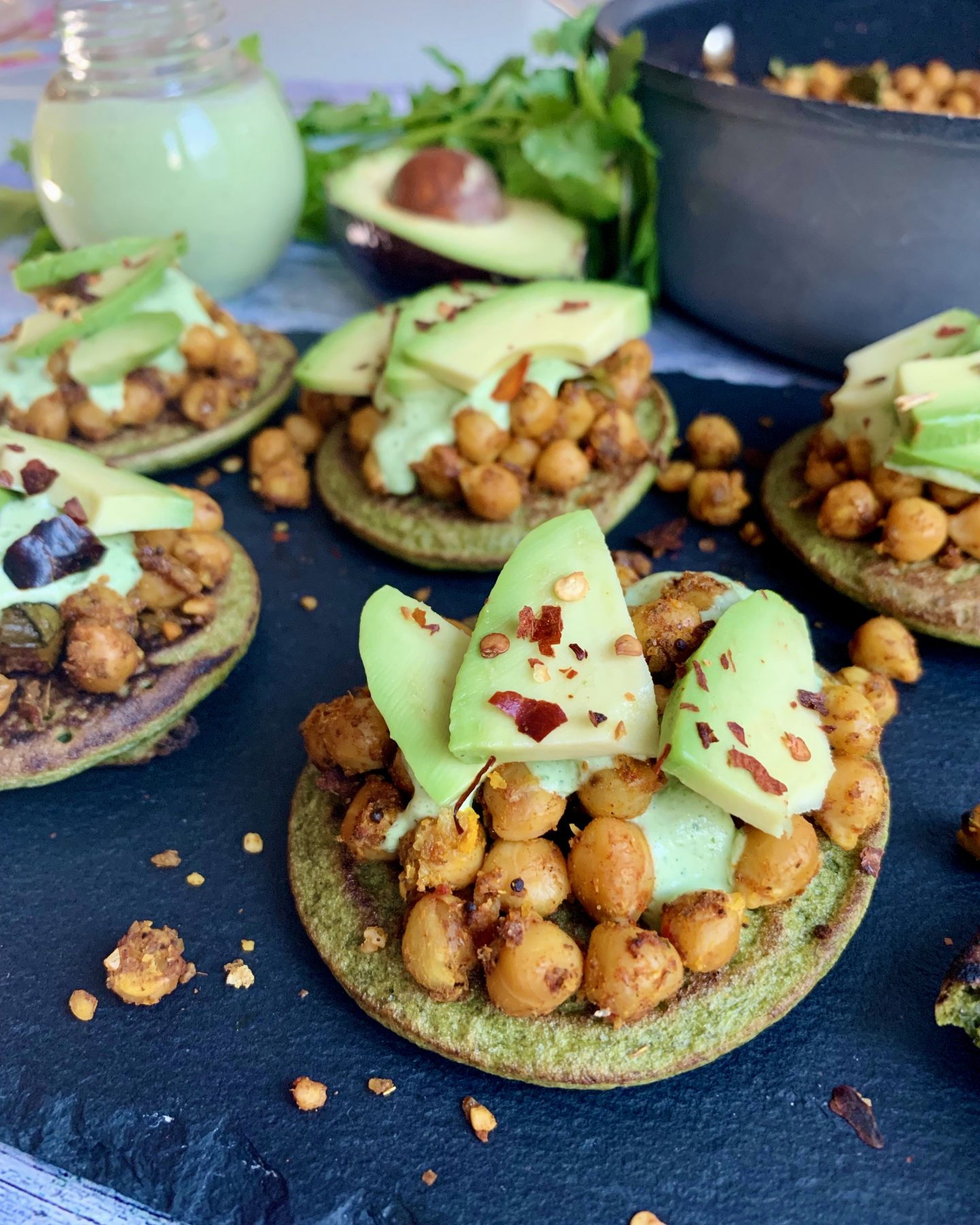 Spinach & Moong Flour Pancakes with Chickpeas, Avocado & Mint Sauce