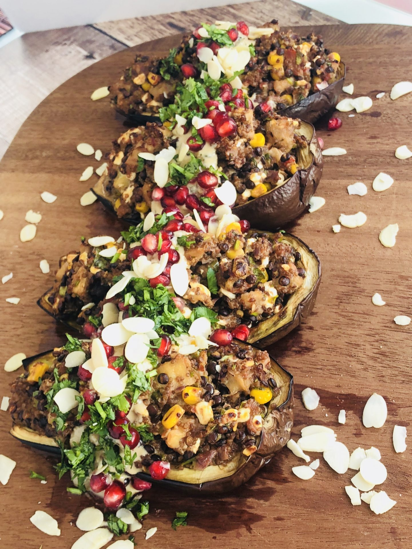Vegan Grilled Aubergine Boats