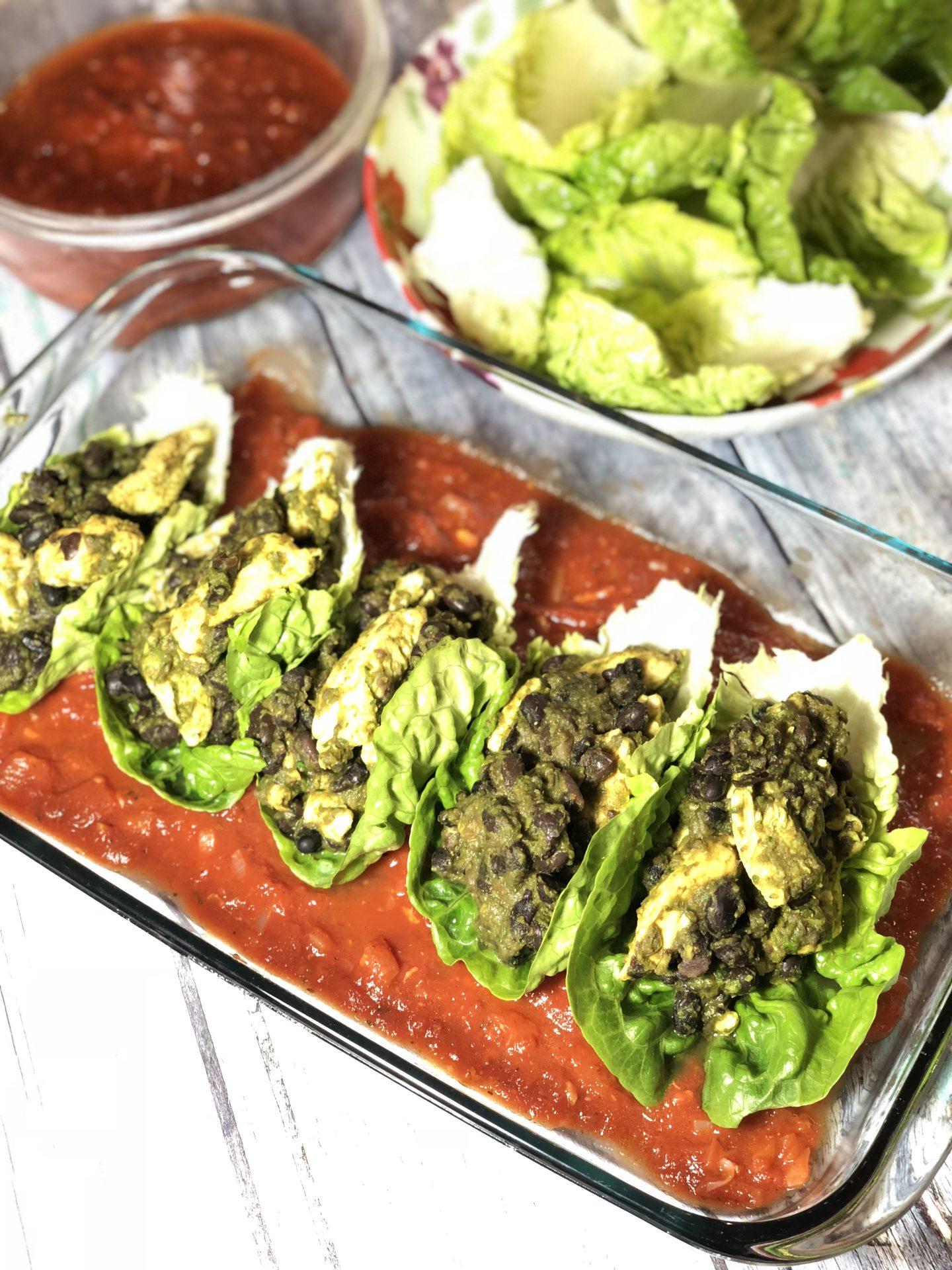 Lettuce Enchiladas with Black Bean & Fresh Paneer Filling