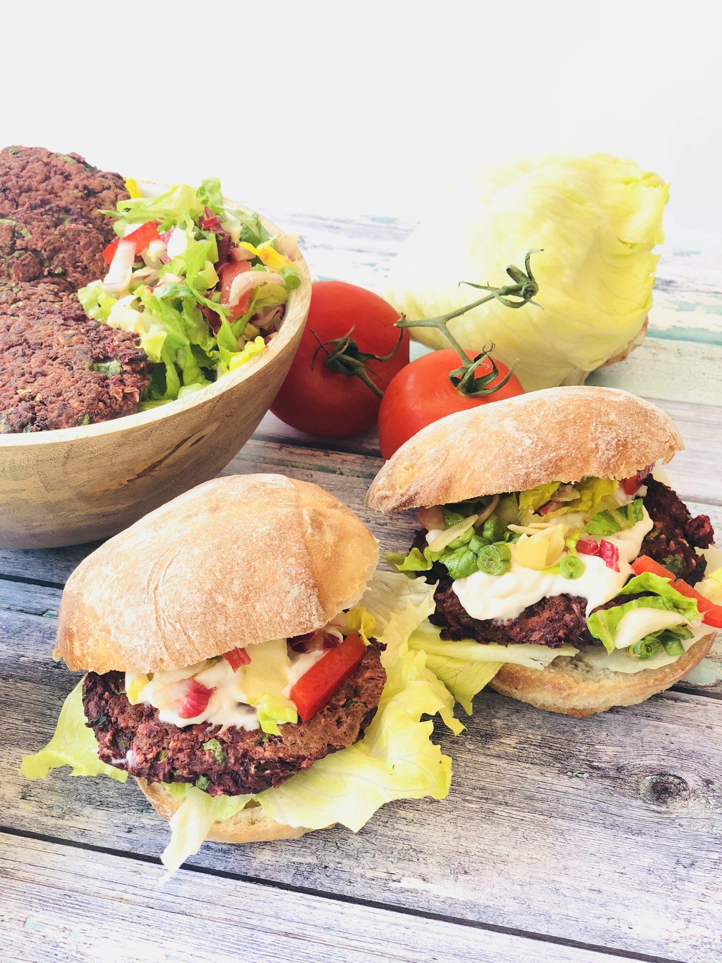Vegan Black Bean & Beetroot Burgers
