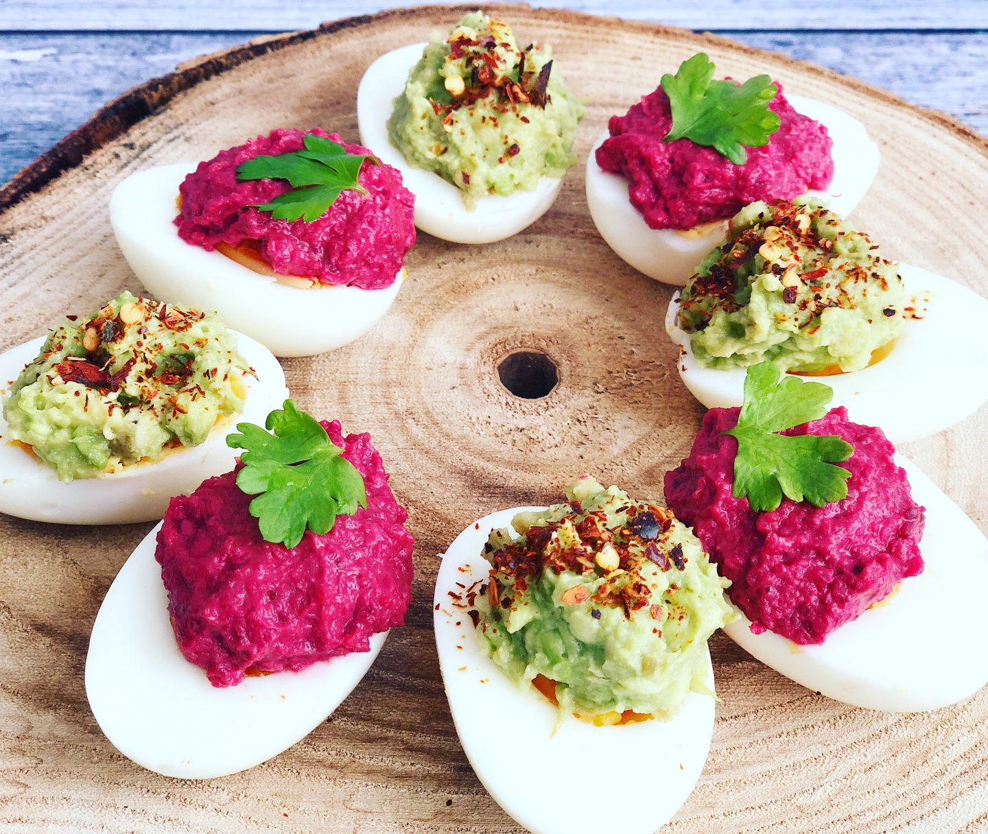 Guacamole & Beetroot Hummus Devilled Eggs