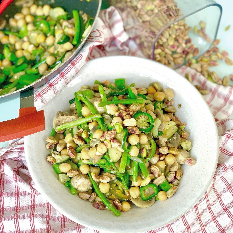 Warm Salad with Mushrooms, Chickpeas & Pistachio