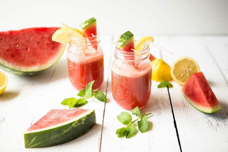 Fresh Watermelon & Mint Juice with Ice