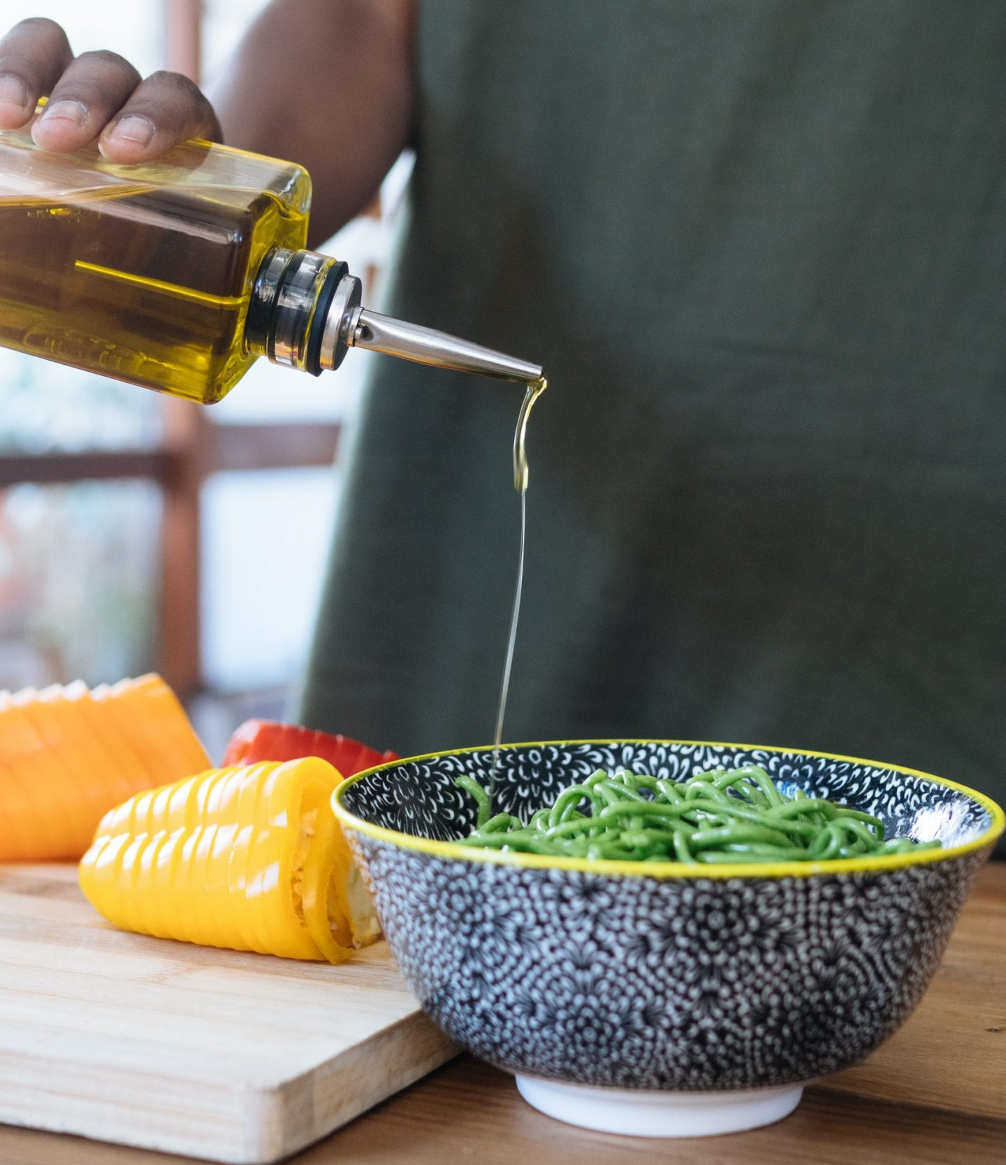 olive oil drizzled on vegetables